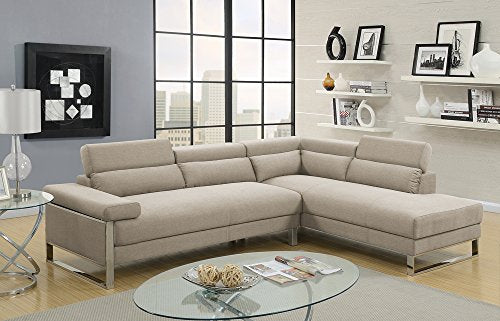 Benzara BM166703 Polyfiber 2 Piece Metal Base, Beige Sectional
