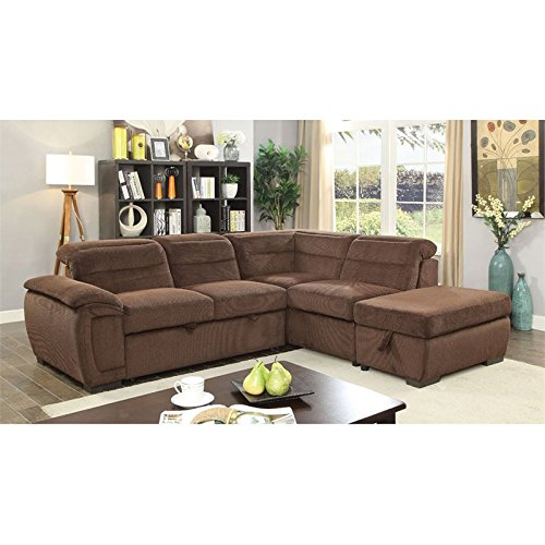 Furniture of America Evy Sleeper Sectional in Brown