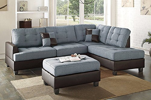 3Pcs Modern Grey Linen-Like Fabric Reversible Sectional Sofa Chaise Ottoman Set with 2 Accent Pillows