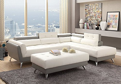 3Pcs Modern White and Light Grey Bonded Leather Sectional Sofa Set with Extra Large Ottoman and Reveal Storage Compartments