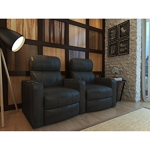 Octane Turbo XL700 Black Bonded Leather with Manual Recline (Row of 2 Curved)