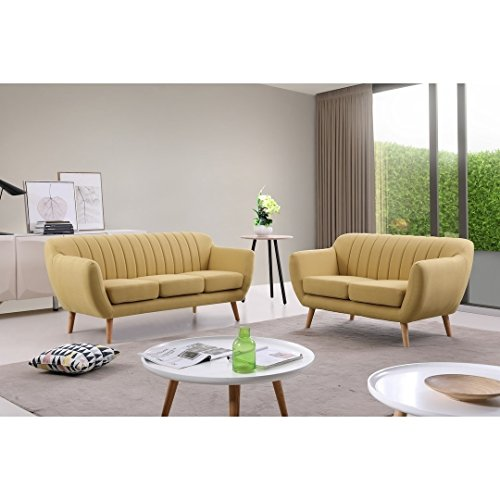 US Pride Furniture S5352-2PC Eli 2-Piece Fabric Sofa Set, Yellow