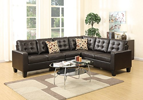 Advanced Modern Espresso Bonded Leather Reversible Sectional Sofa Set with tuft back and 2 accent pillows