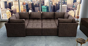 "Bradford Living KPI008M4a2b2c Modular Sectional, 72"" x 133"" x 34"", Brown"