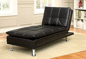 "247SHOPATHOME IDF-2677BK-CE Reclining Chaise, Dimensions: 65"" L x 29"" W x 33.5"" H, Black"