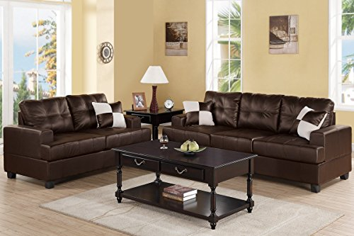 2Pcs Modern Espresso Bonded Leather Sofa Loveseat Set with Accent Pillows