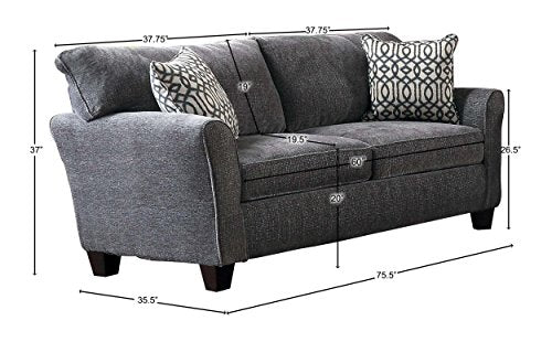 "Homelegance Alain 76"" Fabric Flared Arm Loveseat with 2 Pillows, New Gray"
