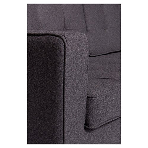 LeisureMod Modern Lorane Style Loveseat in Dark Gray Wool