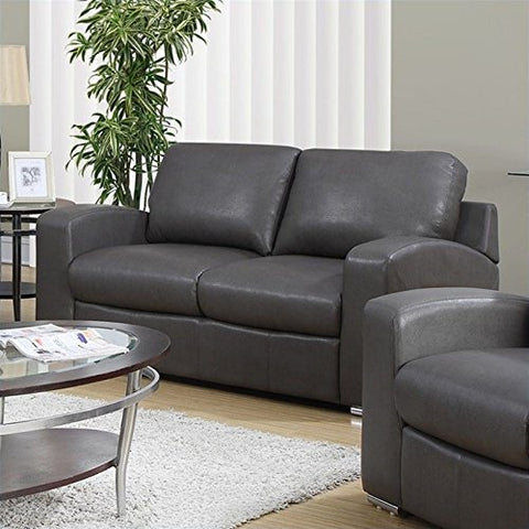Pemberly Row Leather Loveseat in Charcoal Gray