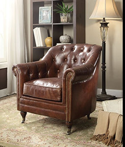 Acme Aberdeen Chair in Vintage Dark Brown TG Leather Finish 53627