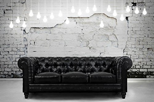 Tov Furniture Zahara Leather Sofa, Black