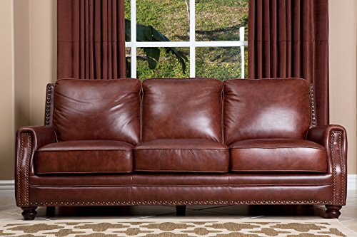 Abbyson Bel Air Hand Rubbed Leather Sofa