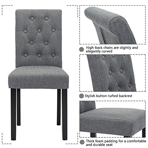 Set of 6 Upholstered Fabric Dining Chairs with Button-Tufted Details (Gray)