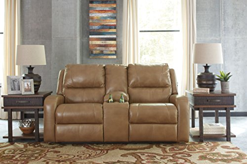 Signature Design by Ashley U6070194 Roogan Reclining Loveseat with Console, Blondie