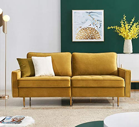 "Rhomtree Mid Century Sofa Velvet Fabric Upholster Couch 71"" Modern Sectional Futon Bench Loveseat Living Room Sofa with 2 Throw Pillows (Yellow)"