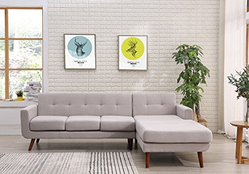 "Container Furniture Direct S0124R-2PC Andy Linen Upholstered Midcentury Modern Right-Sided Sectional Sofa, 69.29"", Beige/Tan"