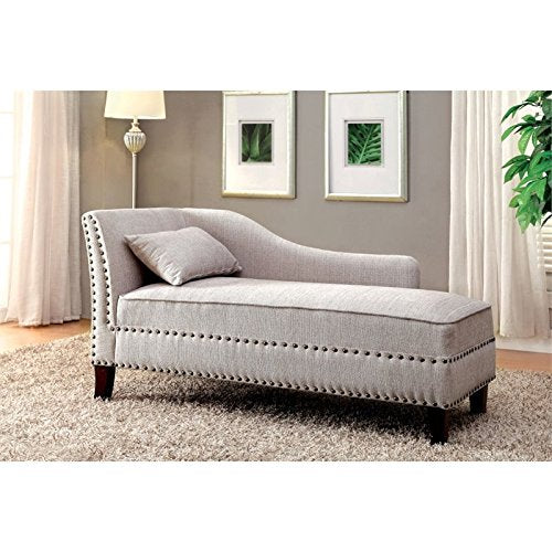 BOWERY HILL Modern Fabric Chaise Lounge in Beige