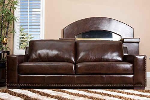 Abbyson Beverly Hand Rubbed Leather Sofa, Brown