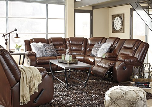 Walgast Contemporary Espresso Color PU Leather Reclining Sectional Sofa with Console and Rocker Recliner Set