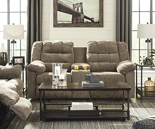 Workhorse Contemporary Cocoa Color Fabric Double Reclining Loveseat With Console