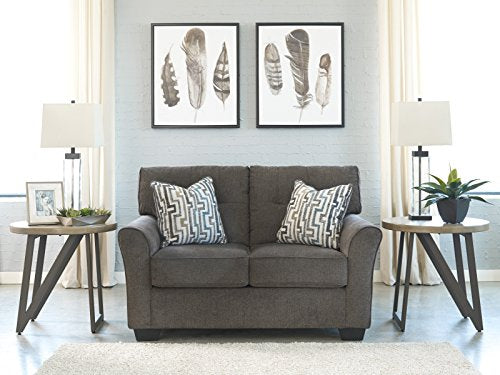Alsen Contemporary Granite Color Fabric Sofa and Loveseat Set