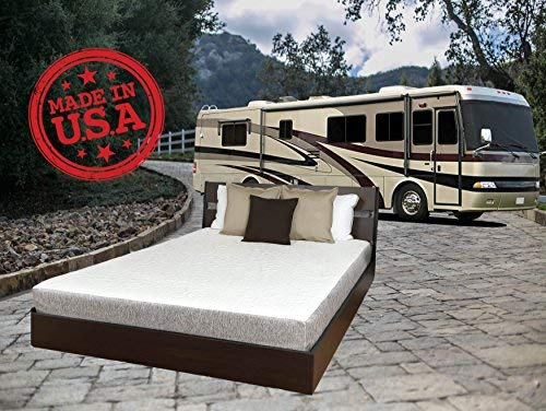 "TRAVEL HAPPY with A 8 INCH Short King (72"" x 75"" Inches) New Cooler Sleep Graphite Gel Memory Foam Mattress with Premium Textured 8-Way Stretch Cover for Campers, RV's and Trailers Made in The USA"