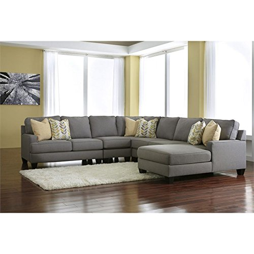 Ashley Furniture Signature Design Chamberly 5 Piece Sectional Sofa in Alloy
