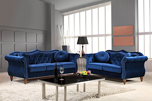 Container Furniture Direct S5365-2PC Carbon Velvet Upholstered Classic  Chesterfield Sofa Set, 79.5\