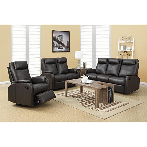 Monarch Specialties I 81Br 2 Brown Bonded Leather Reclining Love Seat in