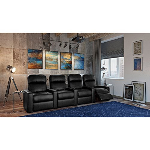Octane Turbo XL700 Black Bonded Leather with Manual Recline (Row of 4 Straight)