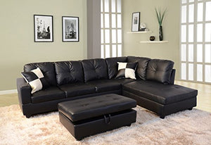 Eternity Home Bogani Furniture Sectional 3 Seated Right Facing Sofa with Ottoman, Black