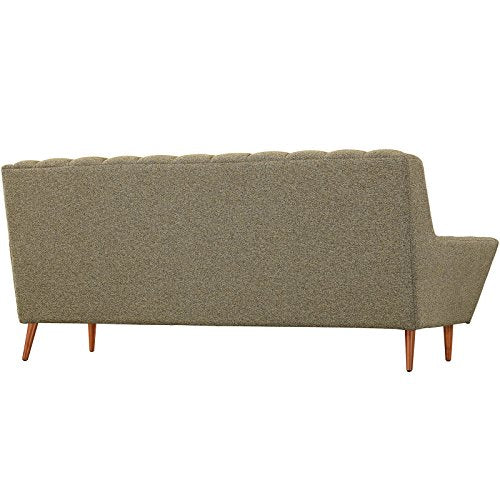Modway Response Mid-Century Modern Sofa Upholstered Fabric in Oatmeal