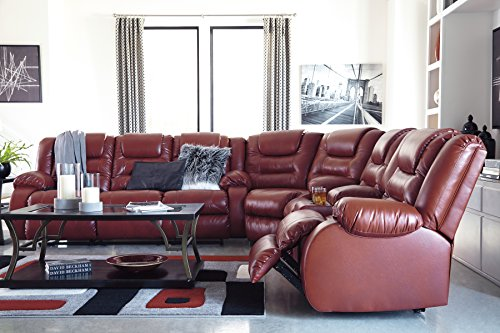 Vacherie Contemporary Salsa Color Faux Leather Reclining Sectional Sofa/Loveseat and Recliner Set