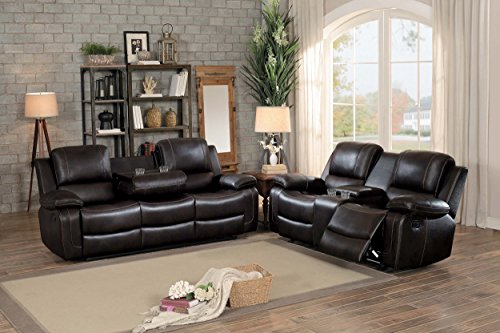 Homelegance Oriole Double Reclining Sofa AirHyde Breathable Faux Leather with Drop Down Center Cup Holders, Brown
