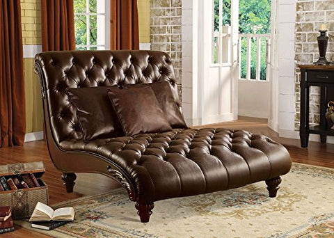 1PerfectChoice Anondale Brown PU Leather Lounge Chaise with Pillows