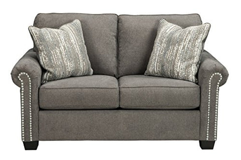 Standard Loveseat Sofa Upholstered in a Light Charcoal with Velvet Soft Hand Gorgeous Accent Pillows in Raised Chenille Upholstery Solid Wood Frame Gray Living Room Furniture Décor