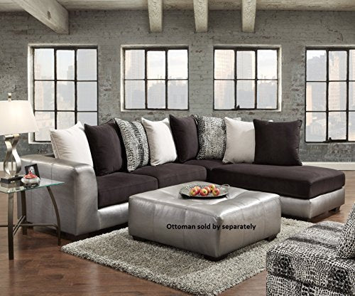 Roundhill Furniture Shimmer Pewter Microfiber Sectional Sofa, Black