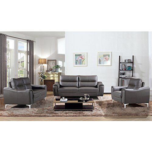 AC Pacific Rachel Collection Ultra Modern Living Room Sofa Set With Sofa, Loveseat and Armchair, Plush Cushions and Splayed Leg Finish, Gray
