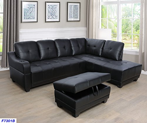 Beverly Fine Funiture CT7301B Sectional Sofa Set, Black