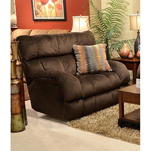 BOWERY HILL Power Lay Flat Fabric Recliner in Chocolate