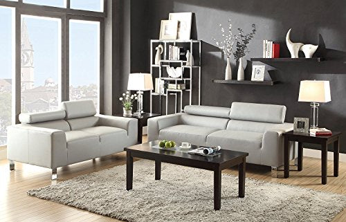 2Pcs Modern Grey Leather Sofa and Loveseat With Adjustable Headrest