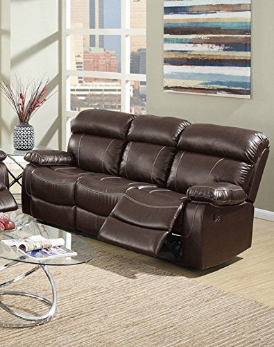 3Pcs Modern Espresso Reclining Sofa Set Covered in Rich Bonded Leather