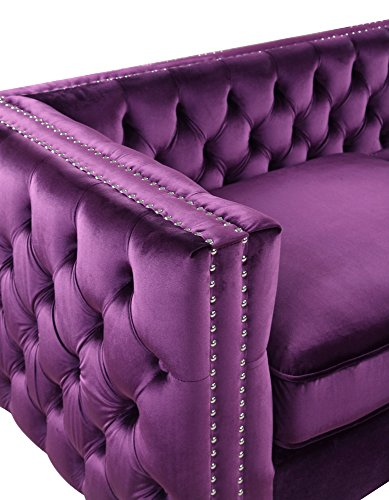 Iconic Home Bosch Modern Contemporary Velvet Button Tufted with Silver Nailhead Trim Silvertone Metal Leg Sofa, Purple