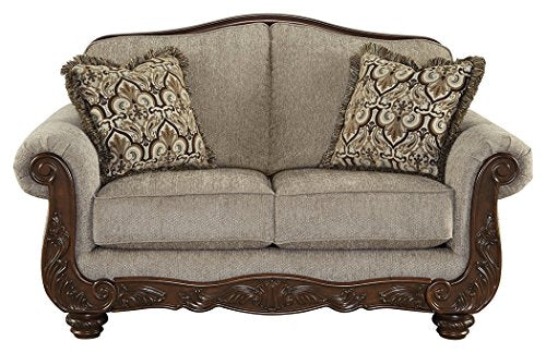 Ashley Furniture Signature Design - Cecilyn Traditional Style Rolled Arm Loveseat - Cocoa