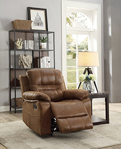 Benzara BM166724 Leatherette Rocker Recliner in Dark Brown