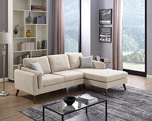 LILOLA Founders Fabric Sectional Sofa Beige