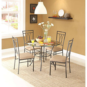 "Dining Set Metal Chairs Kitchen Table Furniture Modern Wood 4 Breakfast 5 Piece Stylish Apartment Home Side, Table size: 42""L x 42""W x 30""H, Chair size: 18.5""L x 18.5""W x 39""H"