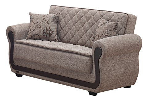 BEYAN Newark Collection Upholstered Convertible Storage Love Seat with Easy Access Storage Space, Includes 2 Pillows, Light Brown