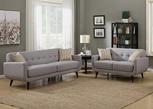 AC Pacific Crystal Collection Upholstered Gray Mid-Century 2-Piece Living Room Set with Tufted Sofa and Loveseat and 4 Accent Pillows, Gray