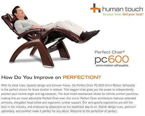 Perfect Chair Human Touch PC-600 Omni Motion Silhouette Series 2 Power Recline Matte Black Wood Base Zero-Gravity Recliner - Sand Top Grain Leather - In-Home White Glove Delivery